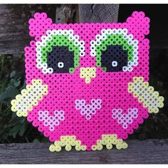 Pink owl perler beads by  sodopedesignsbyjessica