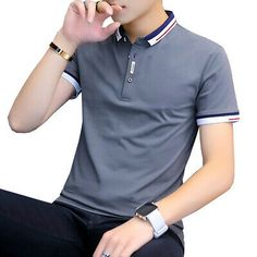 Buy it before it ends. There is always many products on sae upto - BROWON 2019 New Arrival Summer T-shirt Men Short Sleeve Slim Fit Tshirts Turn-down Collar Tee Shirt Homme - eTrendings T Shirt Polo, Tee Shirt Homme, Short Sleeve Polo Shirts, Collar Shirts, Tee Shirts, Shirt Men, Polo Shirts For Men, Men's Polo, Slim Fit Polo