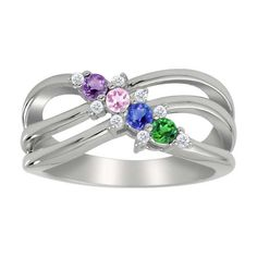Mother's Birthstone and Diamond Accent Ring in 10K White or Yellow Gold (3-5 Stones)