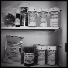 Resembles my life these days, too. Little plastic bottles, green and petrified amber. Anti Nausea, First Iphone, Drug Free, Plastic Bottles, Dice, Medicine Cabinet, Pills, Breast Cancer, Cannabis