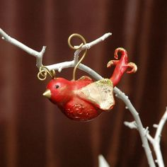 Cute Paperclay Love Bird Ornament by Sleepy Hollow Folk Art