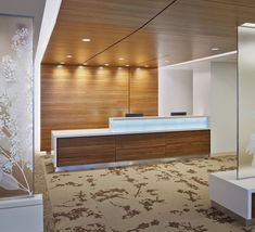 North Shore Long Island Jewish Medical Center Project Featuring Shaw Contract Commercial Flooring Shaw Contract - Commercial Carpet and Commercial Hardwood Flooring Hospital Reception, Dental Reception, Modern Reception Desk, Reception Desk Design, Office Reception, Design Hotel, Design Entrée, Lobby Design, Design Ideas