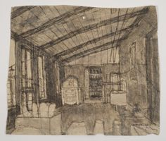 James Castle, 'Untitled (Room interior with slanted ceiling)', n.d., Fleisher/Ollman   Artsy