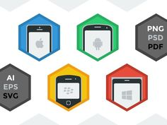 Mobile Flatform icon set contains 4 flat icons including: - iOS/iPhone - Android/Samsung Galaxy - Blackberry - Windows Phone/Nokia Lumia