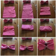 Gender Reveal! Turn napkins and cutlery into bow ties and bows! Take a square napkin, add knife spoon and fork, fold in half, tie cute ribbon in center and voila, a bow!