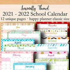 Happy Planner Classic 2021 2022 School Classroom Calendar Printable PDF, Instant Download Have a look ahead at what the school year will bring with this vibrant monthly themed 2021 2022 Academic Calendar. Write down events each month that will be coming up in the school year ahead! This calendar Classroom Calendar, School Calendar, Calendar 2020, Calendar Wall, Calendar Ideas, Printable Calendar Pages, Monthly Planner Printable, Calendar Templates, Monthly Themes
