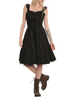 Too much black? No such thing // Black Brocade Lace Up Dress