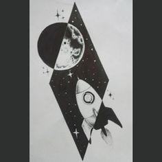 Rocket moon tattoo