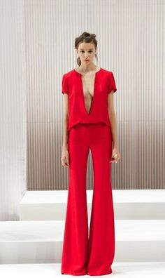 Wes Gordon. Extreme sexiness from a pant suit ensemble in bright red