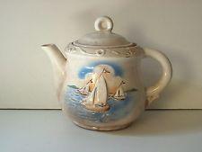 vintage Porcelier Porzellan Teekanne 3 Segelschiffe choppy Wellen  Von United States