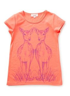 Polyester/Viscose blend tee. Fluro tee featuring deer print on front. Regular fitting silhouete. Available in Raspberry Lemonade.