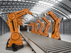 Illustration about Automation industry concept with rendering robot assembly line in factory. Illustration of metal, mechanic, progress - 153807288 Robot Factory, Iron Man Cosplay, Factory Architecture, Robotic Automation, Industrial Robots, Arc Reactor, Assembly Line, Factory Design, Robot Design