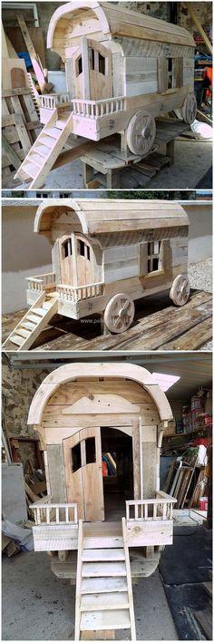 pallets wood kids playhouse idea