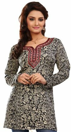 Indian Tunic Top Womens Kurti Printed Blouse India Clothing - http://www.desitoga.com/kurti/indian-tunic-top-womens-kurti-printed-blouse-india-clothing-8/