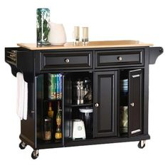 Highlighted by a contemporary two-toned design and antiqued brass hardware, this classic rolling kitchen cart offers ample drawer and cabinet space for stowi...