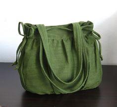 Forest Green Hemp/Cotton Bag $35 from Tippythai on Etsy