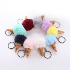 1pc Kawaii Mini Husky Dog Pompom Ball Plush Keychain For Car Bag Home Hanging Decoration Best Birthday Gifts Toys & Hobbies