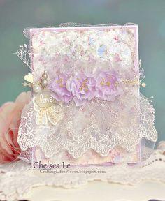 Handmade Shabby Chic Style Card Love An elegant and beautiful one-of-a-kind shabby chic handmade card with handmade flowers, stickpins,