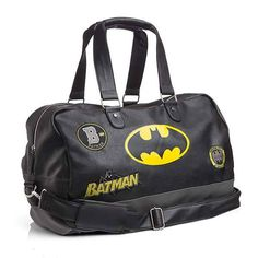 We have just the thing! This Batman Lifestyle Duffel comes in black and grey faux leather, the color scheme for a proper Batman product. It has a yellow Batsymbol printed on the side, plus 3 retro Batman patches, including one for Gotham City Athletics. Batman Bag, Batman Love, Batman Stuff, Cool Stuff, Batwoman, Batgirl, Duffel Bag, Backpack Bags, Izuku Midoriya Cosplay