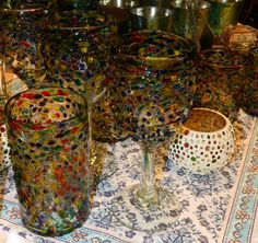 Bringing these jewel blown glasses for high balls, wine or cocktails at Market Alley Wines, Monmouth IL