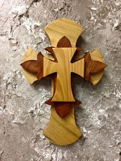 CTC53 Handcrafted Cypress Wood Tri Layered Cross Wall Hang Home Decor by CajunCountryCreat on Etsy