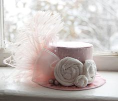 Mini Top Hat Alice in Wonderland Inspired - Baby Pink with Ostrich Feathers - Birthday Hat Photography Prop