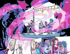 Jem and the Holograms #1. This is a double page (pgs 2-3) by Sophie Campbell, colors by M. Victoria Robado