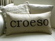 Items similar to Welsh Croeso Welcome burlap (hessian) pillow cushion cover on Etsy