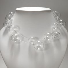 Bubble Necklace, double  blown flameworked glass