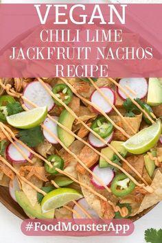 Chili lime jackfruit nachos [vegan] in 2019 Vegan Mexican Recipes, Chili Recipes, Vegan Recipes, Vegan Food, Healthy Food, Vegan Chili, Vegan Tacos, Chili Lime, Recipes