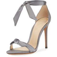 Alexandre Birman Clarita Satin Ankle-Tie Sandal found on Polyvore featuring shoes, sandals, grey, heels, shoes sandals, d orsay sandals, grey shoes, satin sandals, ankle strap sandals and satin shoes