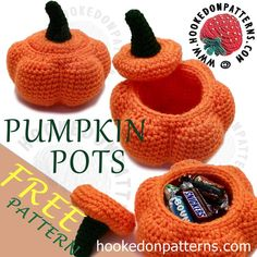 Free Crochet Pumpkin Pots Pattern available on my blog. Perfect for stuffing with Halloween treats!
