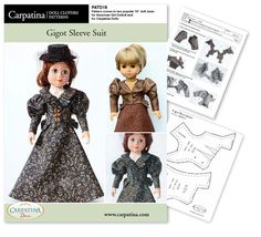 """1890s Gigot Sleeve Doll Clothes Pattern as PDF File, Comes in 2 sizes: for 18"""" American Girl and slim Carpatina dolls by CARPATINA on Etsy https://www.etsy.com/listing/231929040/1890s-gigot-sleeve-doll-clothes-pattern"""