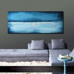Panorama Painting  Fine Blue on Blue  Acrylic by PanoramaPaintings, $429.00