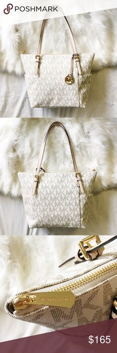 "Michael Kors Jet Set Top Zip Tote A classic signature tote in vanilla from MICHAEL Michael Kors seamlessly transcends the seasons. golden hardware and contrast trim accent this timeless design.   15-1/2"" W x 10"" H x 4-1/2"" D MICHAEL Michael Kors Bags Totes"