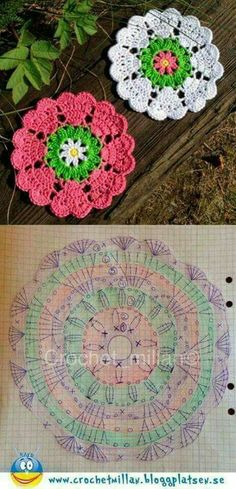 Crochet Square Off Heart Manda Hobby na Stylowi. This Pin was discovered by mar Discover thousands of images about Crochet coasters. Beautiful granny square with pattern Crochet Coaster Pattern, Crochet Flower Patterns, Crochet Diagram, Crochet Chart, Thread Crochet, Crochet Motif, Crochet Flowers, Crochet Stitches, Knitting Patterns