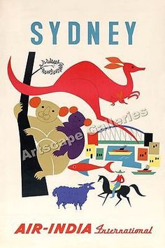 Sydney Air India 1950's Airline Travel Poster - 20x30