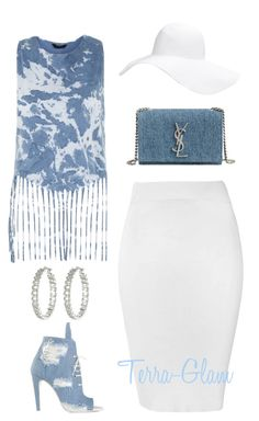 """Denim Winning"" by terra-glam ❤ liked on Polyvore featuring Glamorous, Off-White, Yves Saint Laurent, Forever 21 and Lauren Ralph Lauren"
