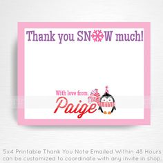 Penguin Winter Wonderland - Winter ONEderland Birthday Digital Thank You Note - YOU PRINT    This is an emailed file, nothing will be shipped to