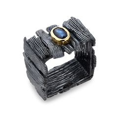 Ring | G.Kabirski. Sterling silver, sapphire and black rhodium and glod plated