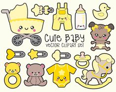 Premium Vector Clipart  Kawaii Baby Clipart by LookLookPrettyPaper