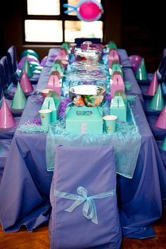 Little Mermaid party :) Love the fish bowls on the table! this is adorable