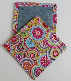 Hot Pink and Teal Geometric Denim Hot Pads- set of 2