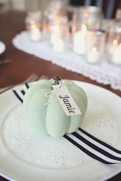 Eighteen 25, Pumpkin Placecard Settings, 20 Ways to Make Thanksgiving Extra Special via Fox Hollow Cottage