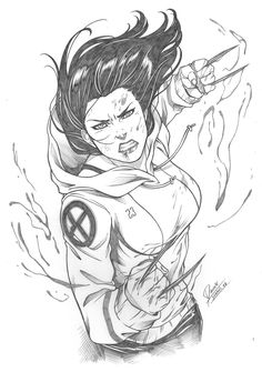 drawing marvel comics by Daniele Torres - Ed Benes Studio Comic Book Characters, Comic Character, Comic Books Art, All New Wolverine, Wolverine Art, Character Drawing, Character Design, Marvel Comics Art, Comics Girls