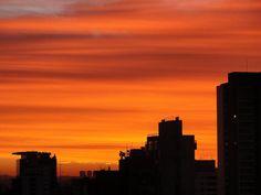 nice sunset , orange sky , it looks fake