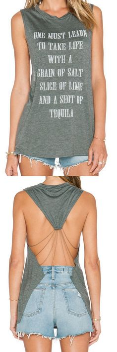 Grey Sleeveless Backless Letter Print Tank Top