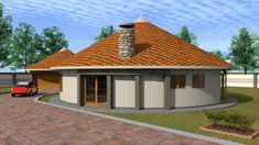Overall Dimensions- x mBathrooms- Car Garage Area- Square meters Round House Plans, My House Plans, Modern House Plans, House Floor Plans, Two Story House Design, Village House Design, Village Houses, House Layout Plans, House Layouts