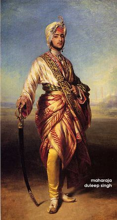 """Maharaja Dalip Singh, Lahore, Sikh Empire 1838-1893, commonly called Duleep Singh and later in life nicknamed the Black Prince of Perthshire, was the last Maharaja of the Sikh Empire. He was the youngest son of the legendary """"Lion of the Punjab"""" Maharaja Ranjit Singh and Maharani Jind Kaur, and came to power after a series of intrigues, in which several other claimants to the throne and to the Koh-i-Noor diamond, killed each other."""