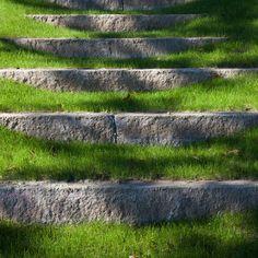 granite curbstone grass steps